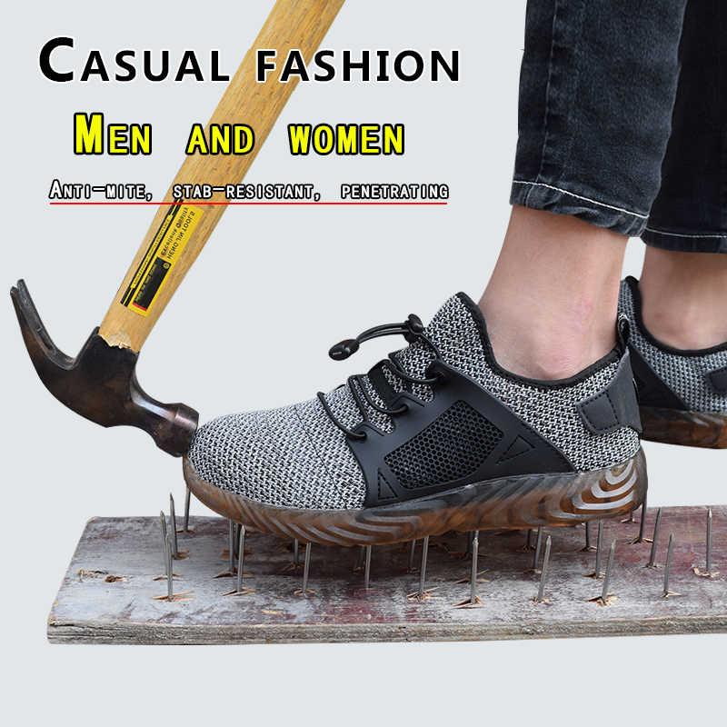 2019 marka çelik ayak kadın erkek çalışma ve güvenlik botları çelik orta taban darbeye dayanıklı yumuşak erkek ayakkabı artı boyutu 37-46