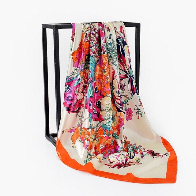 Aliexpress Com Buy New Women Printing Flower Square Scarf Silk