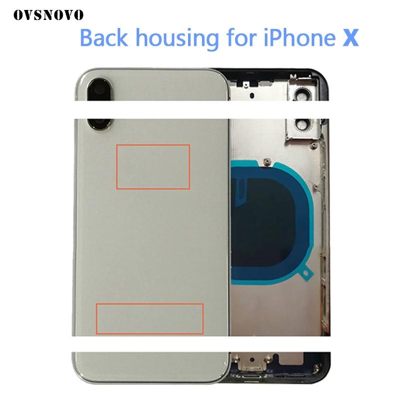 Châssis boîtier arrière couvercle de batterie Fundas pour iPhone X 10 boîtier porte arrière cadre arrière assemblage + LOGO & boutons & plateau Sim + autocollant + outil