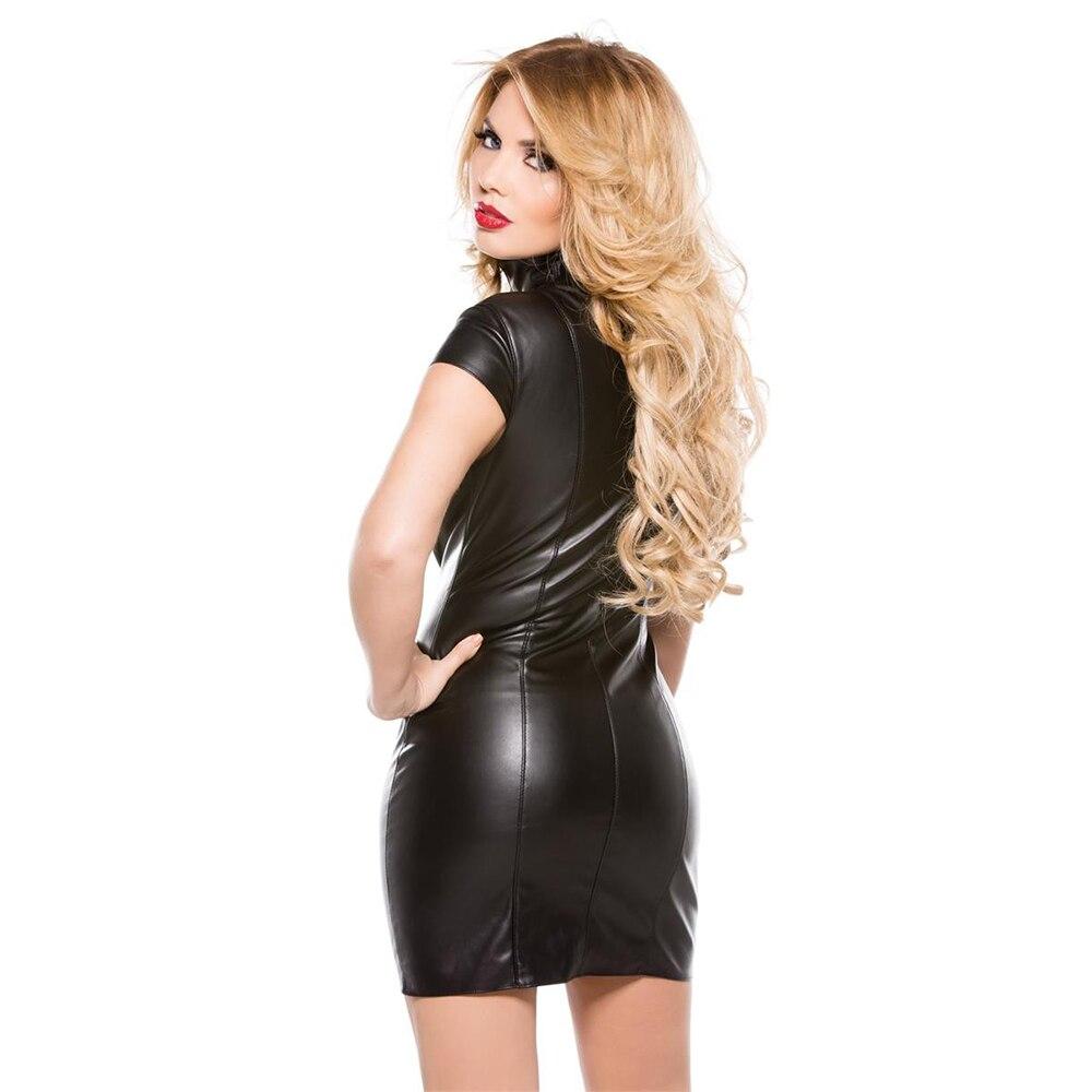 შავი PU Faux ტყავის კაბა ქალთა - ქალის ტანსაცმელი - ფოტო 2