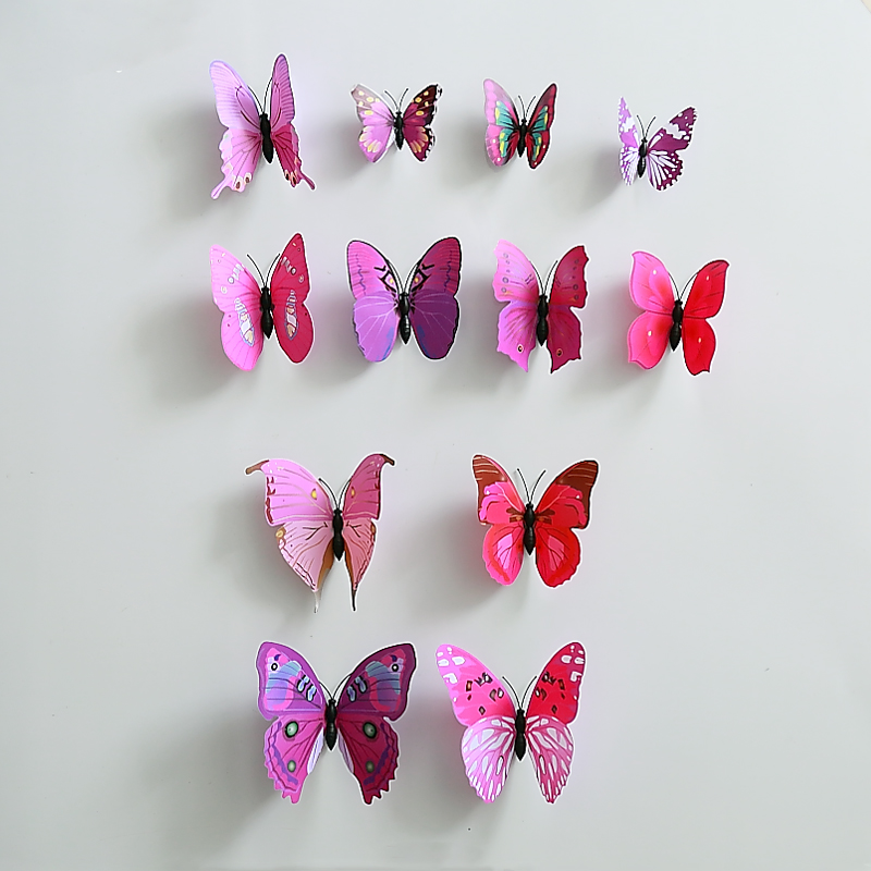 2set 24pcs Hot Sale Purple B PVC Butterfly With Safty Pin Size Assorted Home Wedding Decoration Curtain Hat Cloth DIY Decoration
