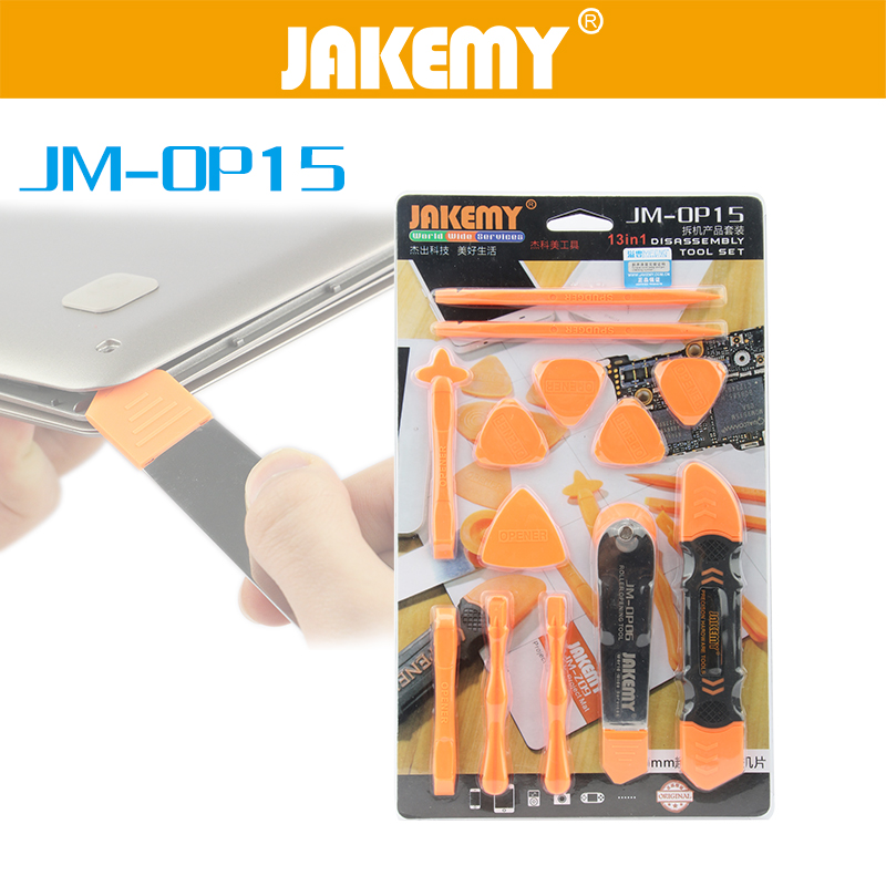 JAKEMY 13 in 1 Disassembly Tools Set Pry Spudger Roller Opening Tool For iPhone 7 6 5 iPad Tablet Mobile Phone Repair Tool Kit