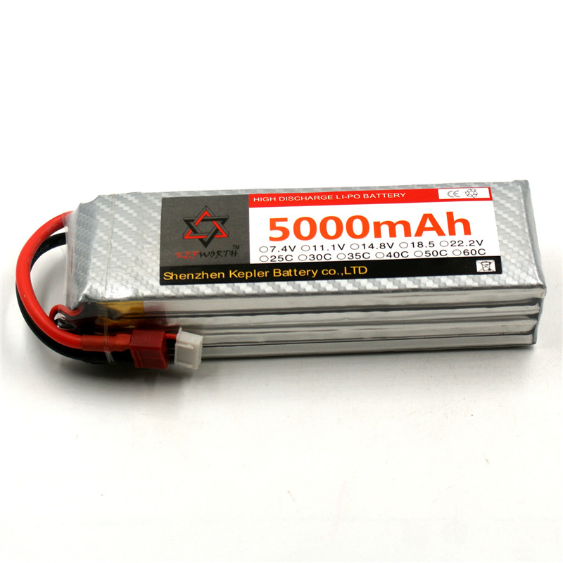 4S 14.8V RC Lipo Battery 5000mAh 35C Li-Polymer Battery For RC Car Plane Boat Helicopter Truck Tank image