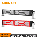 Auxmart CREE Chips LED 22 inch 200W Curved Led Light Bar Black/Red Shell DRL Offroad Driving Light Bar Fit RZR Pickup Truck