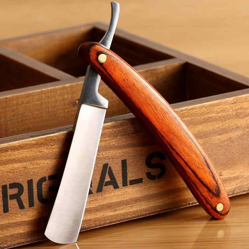 Vintage Old Style Straight Edge Stainless Steel Barber Razor Folding Shaving Knife Hair Removal Tools Wood Handle