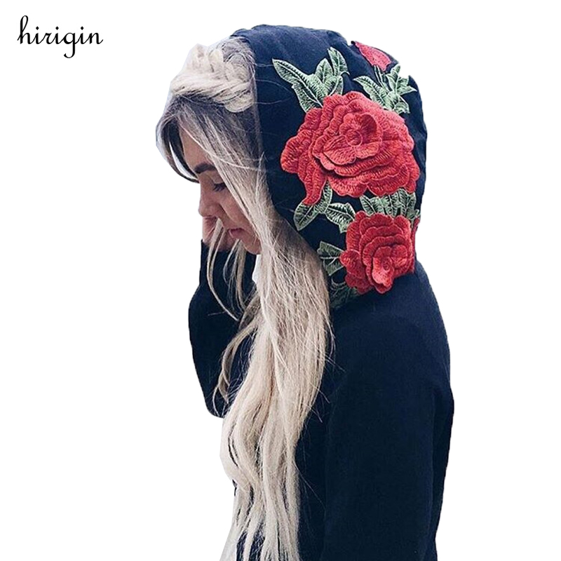 Hirigin Embroidery Rose Hooded Sweatshirt Hoodie Women Black No Bling Hooded Pullover Jumper Hip Hop Oversize Brand Clothing