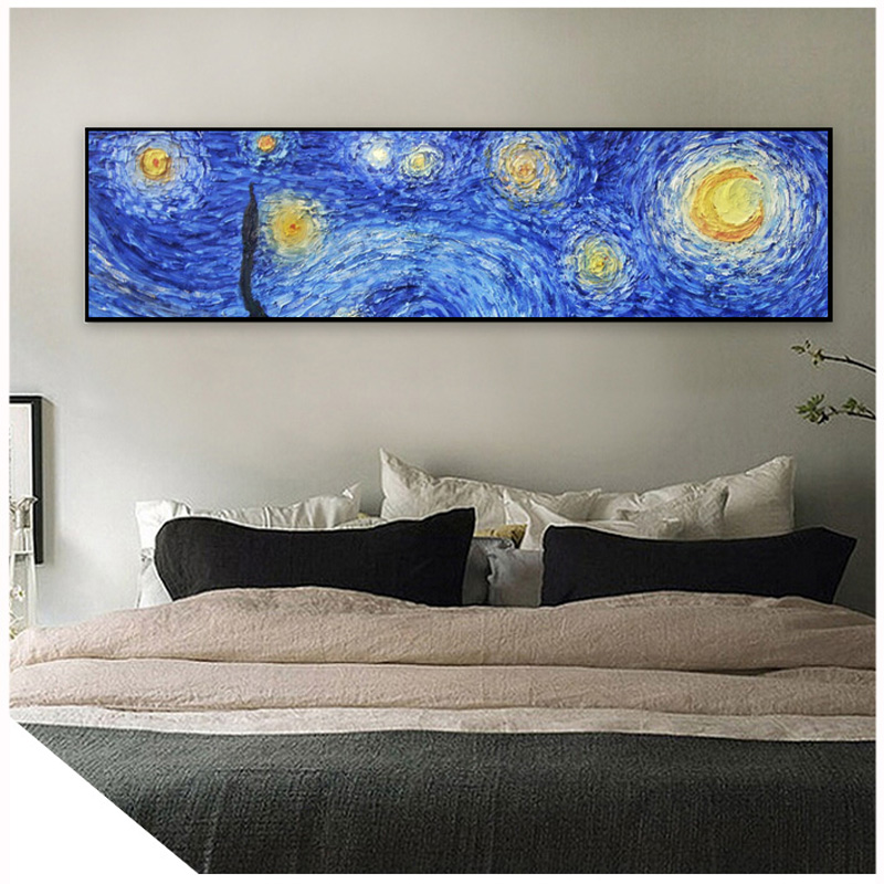 van gogh starry night painting oil paint nail art poster quadro wall cuadros decoracion salon benfica psg