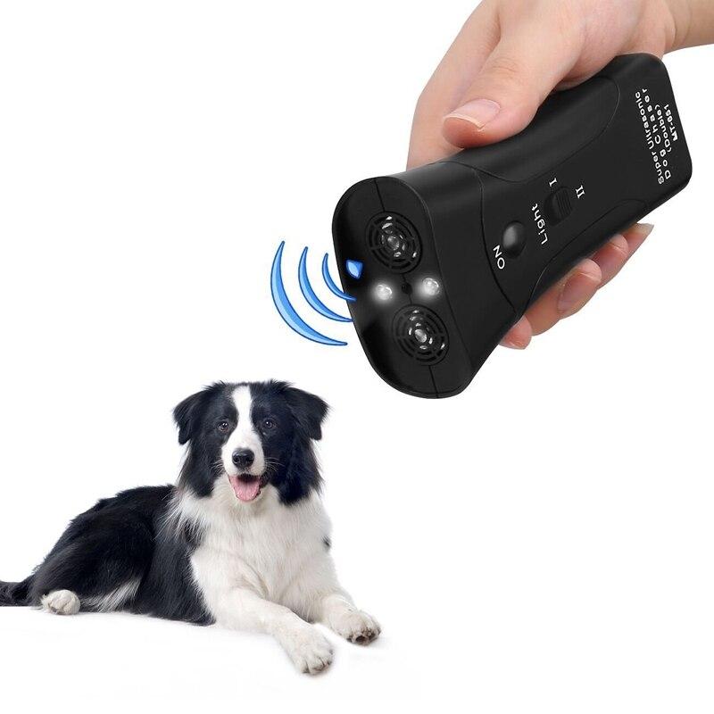 Neue Ultraschall Hund Chaser Aggressive Angriff Repeller Trainer LED Taschenlampe training Repeller Control Anti Rinde Bellen