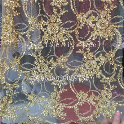 5 yards ysl002 3 gold handarbeit perlen perlen net tulle mesh spitze ...