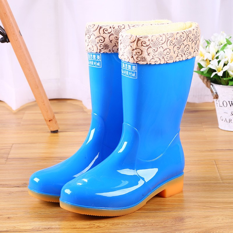 Autumn and Winter Warm Women Rain Boots Platform Cotton Detachable Female Wellies Waterproof Cheap Boots image