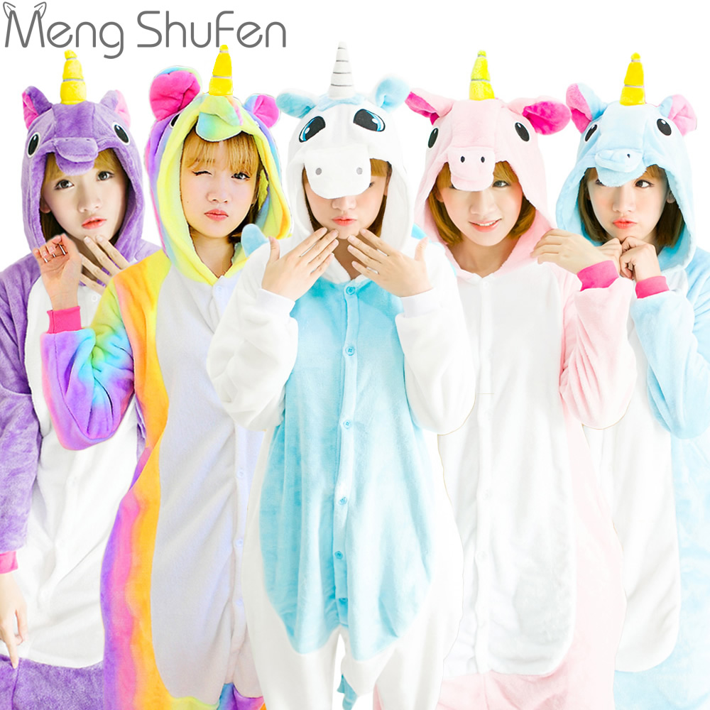 2017 Hot Unicorn Stitch Panda Unisex Hoodie Flannel Pajamas Sets Cosplay Animal Onesies Sleepwear For Adults