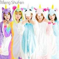 2017 Hot Unicorn Stitch Panda Unisex Hoodie Flannel Pajamas Sets Cosplay Animal Onesies Sleepwear For Adults