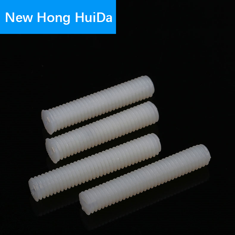 White Nylon Set Grub Screws Plastic Thread Flat Head Metric Headless Slotted Bolt M8
