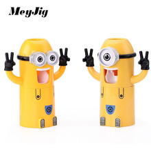MeyJig Home Bathroom Products Cute Design Set Cartoon yellow Minions Toothbrush Holder Automatic Toothpaste Dispenser Toothpaste(China (Mainland))