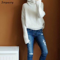 Smpevrg European style women sweaters and pullovers long sleeve high collar female cashmere sweater women knitted pullovers 1111