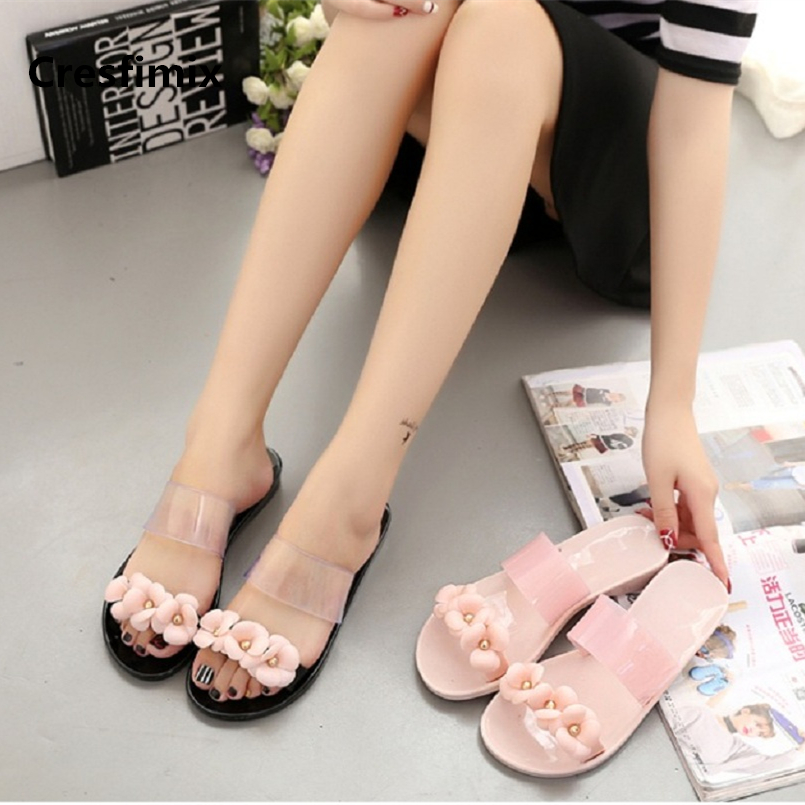 Cresfimix women fashion waterproof jelly slippers lady cute pink flower slides female comfortable summer slip on slippers a432