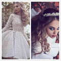 Nuevo de Arribo Del Cordón Blanco Mangas Largas Vestidos Cocktail Party 2016 Cuello alto Plisado Longitud de La Rodilla Vestido Corto de Baile Vestido de Encargo Formal vestido