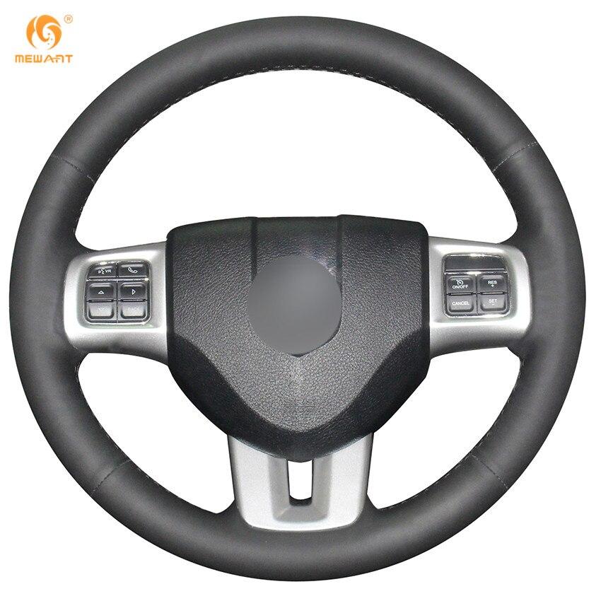 MEWANT Black Genuine Leather Car Steering Wheel Cover for Dodge Grand Caravan Journey Avenger Durango diy top leather hand sewing car steering wheel cover black