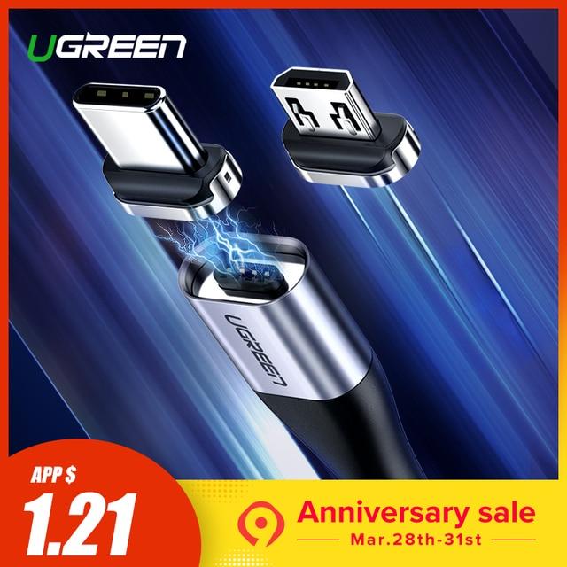 Ugreen Магнитный USB кабель Быстрая зарядка usb Тип C кабель магнит зарядное устройство для передачи данных Micro USB кабель мобильного телефона кабель USB шнур