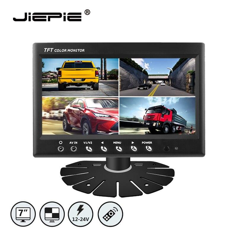 JIEPIE 7 Inch Rear View Quad 4 Split screen Monitor 4CH CCTV Video Input 12V 24V Car Backup System For Bus Truck