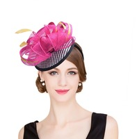 Women Kentucky Derby Sinamay Fascinator Hats Cocktail Party Wedding Heandbands Fancy Feather Head Accessories T216