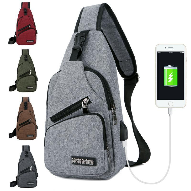 119cf91b2d New Arrival Oxford Men Chest Pack Single Shoulder Strap Back Bag Crossbody  Bags External USB Charging Chestpack Male Travelbag