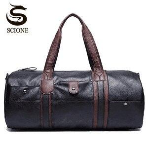 Image 1 - PU skórzane męskie torby podróżne codzienna torba na ramię marka mężczyźni torba torebka Tote Travel torba worek Vintage Sac De Voyage