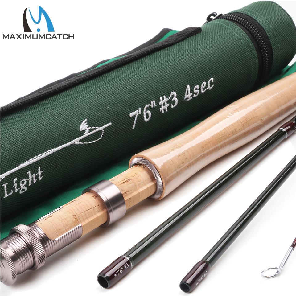 Prix pour Maximumcatch canne à mouche sk carbone 7.6ft 3 wt rapide d'action avec cordura tube super lumière pêche à la mouche tige