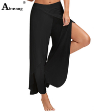 Plus Size 4XL 5XL Solid High Split Ruffle Double Layer Female Trousers Sports Fitness Pants 2019 New Casual Women Wide Leg
