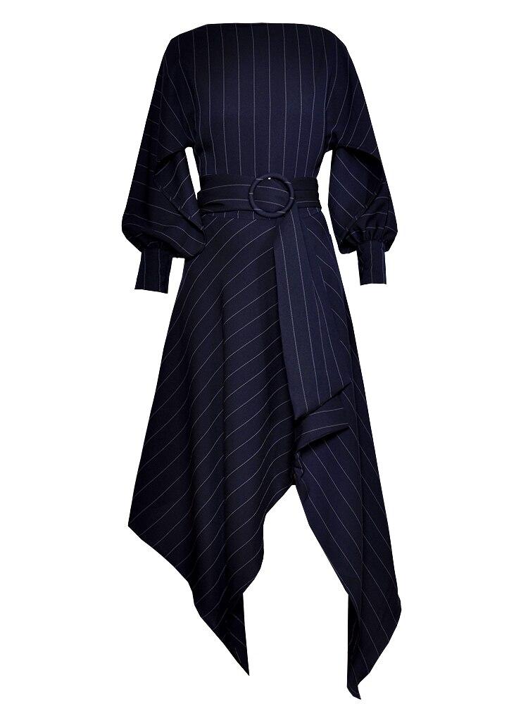 Automne Femmes Mode Casual Longues mollet H5336 Solide Robes 2018 Red Haute Manches Couleur À Mi Robe navy Irrégulière Cou Slash Qualité wEqFztzIxX