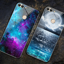 For Huawei P Smart Case Fashion Painted Tempered Glass Hard Back Cover huawei p smart cubierta Enjoy 7S 7 S capa
