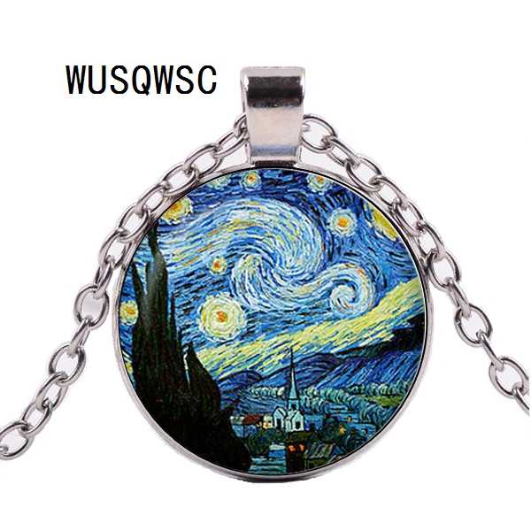 Handicraft Jewelry Vintage Van gogh Starry Night Pendant Necklace Silver Plated Chain Glass Cabochon Choker Necklace