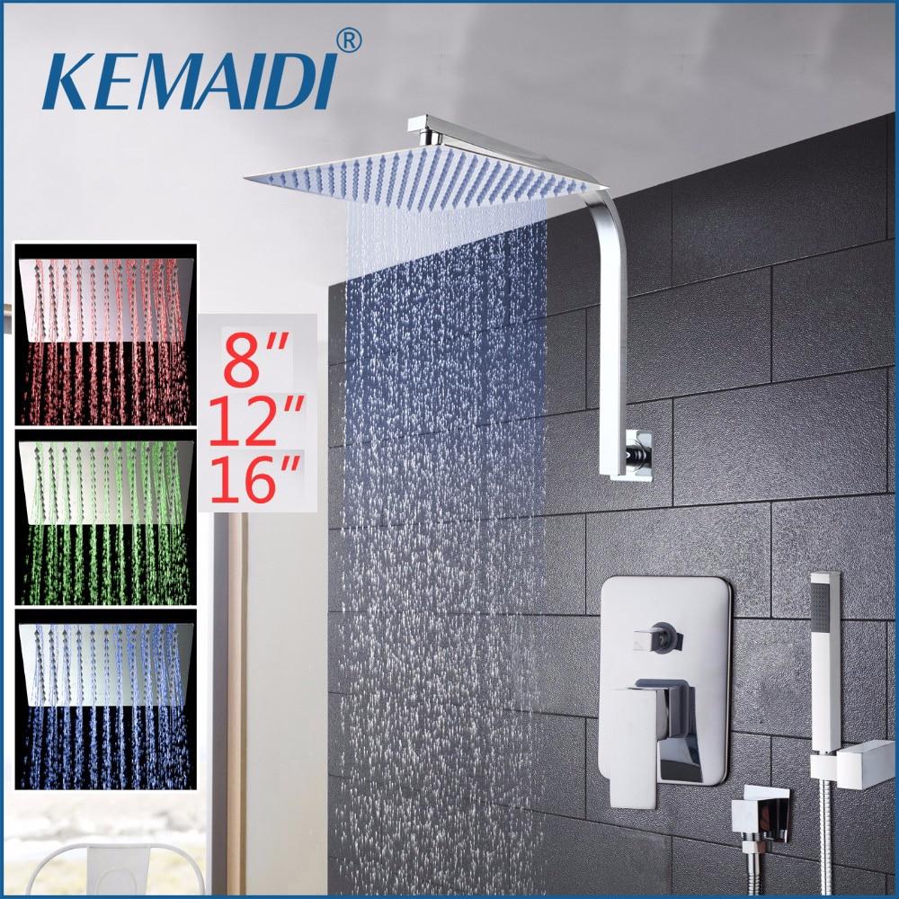 KEMAIDI  8 12 16 Rainfall Shower Head System Polished Chrome Bath & Shower Faucet Bathroom Luxury Rain Mixer Shower Combo Set sognare new wall mounted bathroom bath shower faucet with handheld shower head chrome finish shower faucet set mixer tap d5205