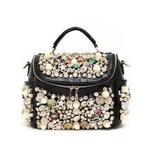 2017  pearl buttons women's handbag  rhinestone crocodile pattern luxury rivet one shoulder cross-body bag lady messenger bag