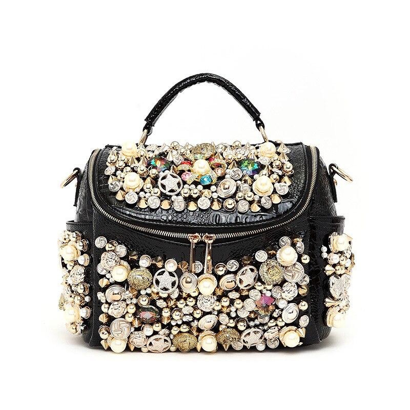 2017  pearl buttons women's handbag  rhinestone crocodile pattern luxury rivet o