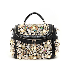 2017  pearl buttons women's handbag  rhinestone rocodile pattern luxury rivet one shoulder cross-body bag lady messenger bag