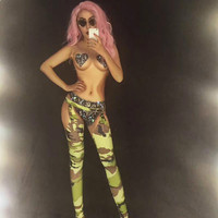 Army Sexy Bodysuit 3D Printed Sparkling Crystals Jumpsuits Nightclub Party Celebrate Performance DJ DS Dancer Costumes