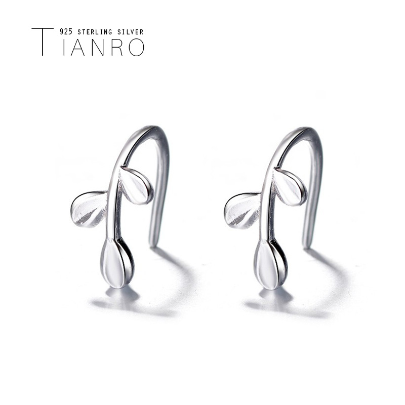 TIANRO Korean version of the art small fresh olive leaf 925 sterling silver branches ear hook olive branch earrings female in Drop Earrings from Jewelry Accessories
