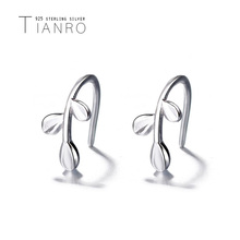 TIANRO Korean version of the art small fresh olive leaf 925 sterling silver branches ear hook branch earrings female