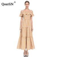 QoerliN Check Dress No Zipper Sling Ruffles Korean Style Long Maxi Dress High Waist Summer Party Dress Plus Size Women Clothing