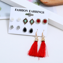 L&H 6Pairs Bohemia Shining Rhinestone Earrings Set Long Tassel  Earrings For Women Water Drop/Flower/Pearl Female Stud Earrings недорого