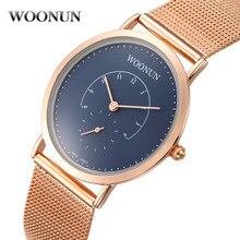 Woonun роскошные мужчины часы известная марка розовое золото часы синий циферблат Полный Стали мужские Кварцевые Часы Тонкие Мужские Часы reloj hombre