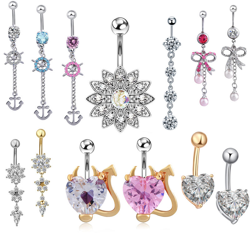 Dangle-Earrings Navel Belly-Button-Piercing Surgical Steel Body-Jewelry 14G Ombligo 1PC