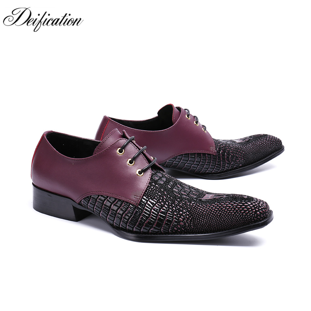 Deification Black Wine Pointy Toe Men's Formal Shoes Lace Up Casual Oxfords 2018 Genuine Leather Mens Wedding Shoes Plus Size 47
