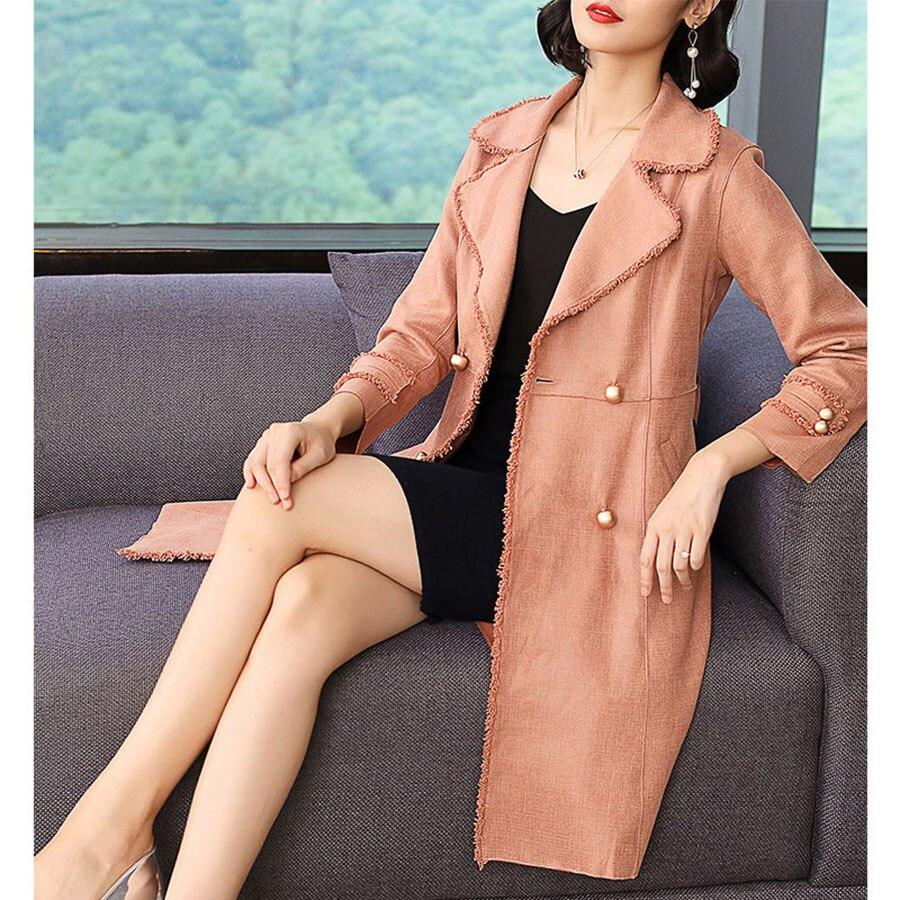 Velvet Autumn Long   Trench   Coat For Women Belted Office Korean 2019 Spring Fashion Women Clothes Ladies Coats Manteau Femme