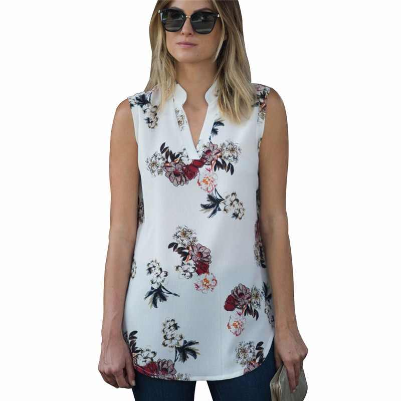 Fashion Vintage Floral Print Blouse Shirt 2019 Summer Sleeveless Chiffon Blouse Sexy V Neck Women Shirts Casual Loose Chemise