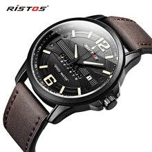 Спортивные часы RISTOS из натуральной кожи, повседневные военные мужские кварцевые часы, мужские наручные часы, роскошные часы Reloj Hombre 9322