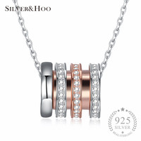 SILVERHOO Genuine 925 Sterling Silver Round Pendant Necklaces with Clear Zircon Rose Gold Color Fine Jewelry for Women