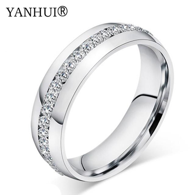 bastante agradable 8a9d0 2212b € 8.19 50% de DESCUENTO|YHAMNI sólido oro blanco lleno CZ circón anillos de  boda para hombres y mujeres tamaño del anillo US 5 14 YH044 en Anillos de  ...