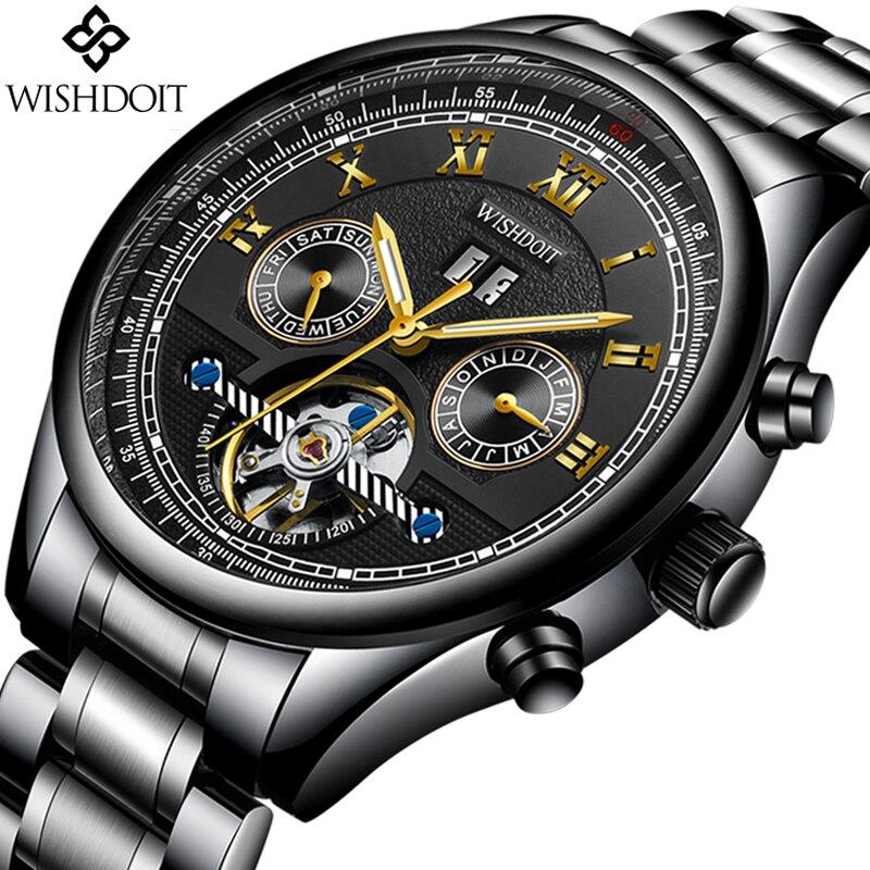 2018 мужские часы WISHDOIT лучший бренд класса люкс Для мужчин автоматические механические часы Для мужчин s Повседневное Бизнес Водонепроницаем...